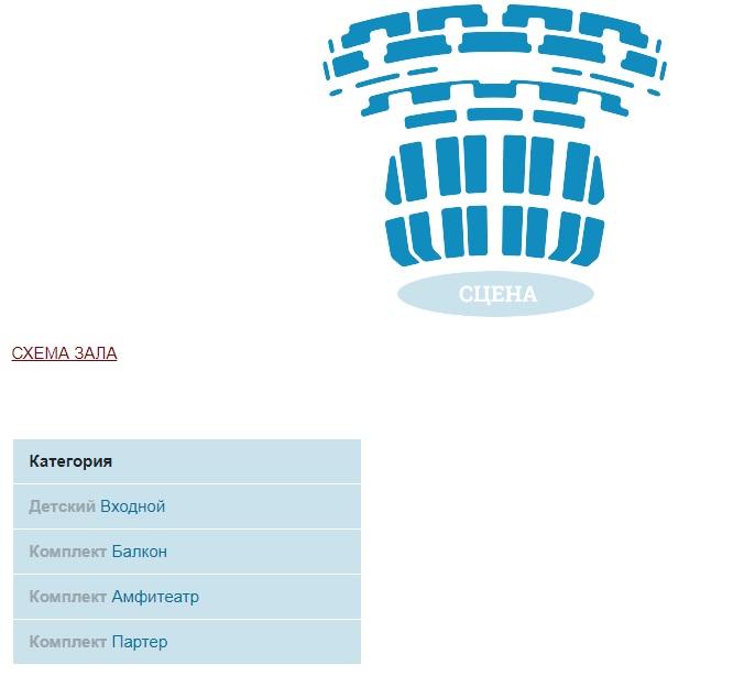 Варианты выбора билетов по секторам